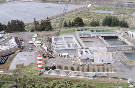 An aerial view of plastic pipe installation by Solo at Pukekohe