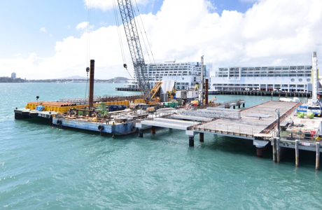 A harbour view showing Solo's pipe installation for America's Cup event