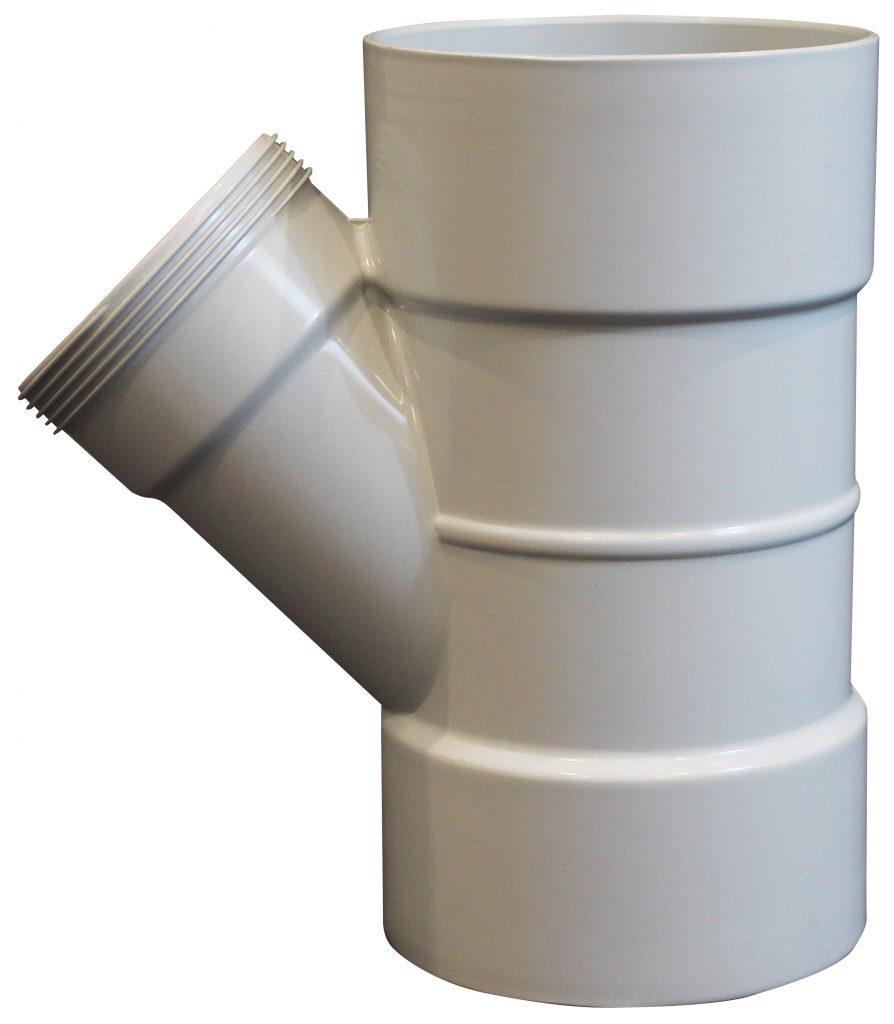 A moulded pipe fitting for drainage and stormwater applications.