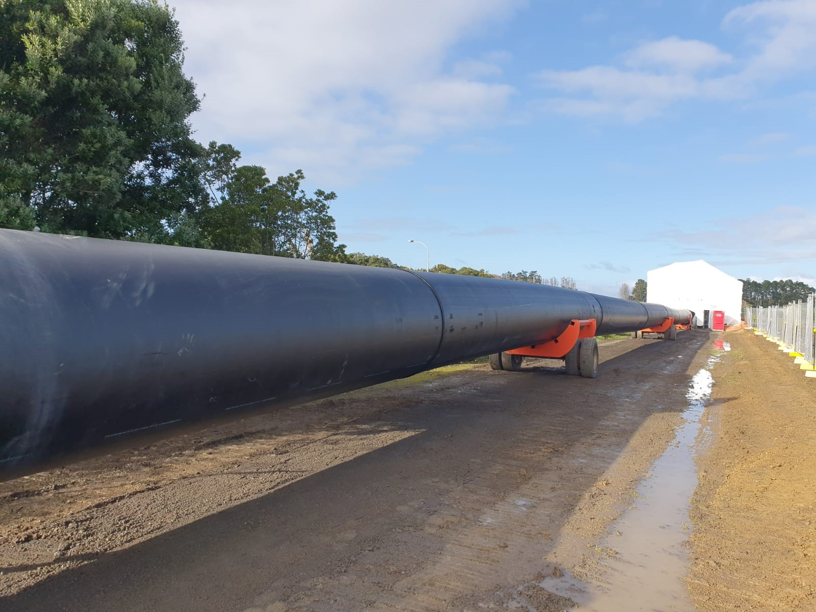 Black plastic pipeline fabricated by Solo