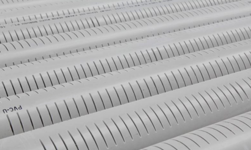 An image of a perforated PVC pipe built by Solo.