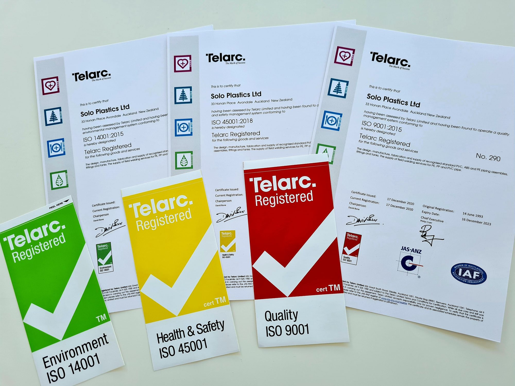 Triple ISO standards awarded to Solo Plastics through Telarc